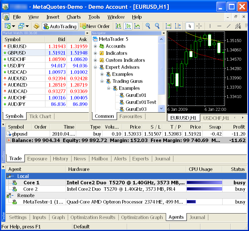 The MetaTrader 5 optimizer using a remote agent