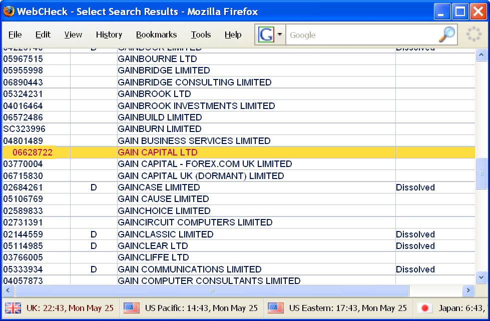 "Search results for ""Gain Capital"" at Companies House"