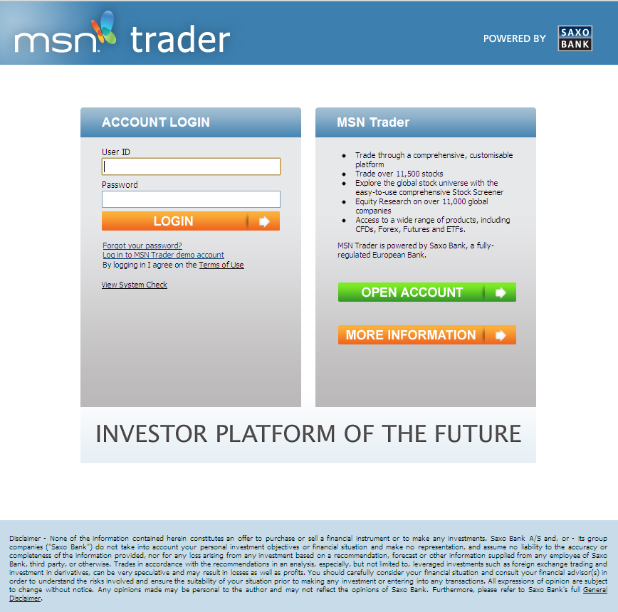 The MSN Trader home page will be disappearing real soon now