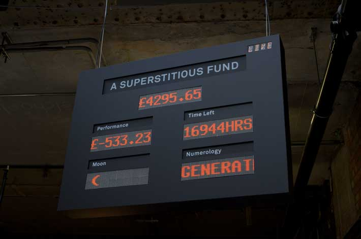 The Superstitious Fund's live performance board. (Image by Diego Trujillo)